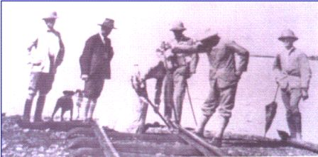 Florence and Robert laying the final rail at Port Florence now Kisumu on 19th December 1901