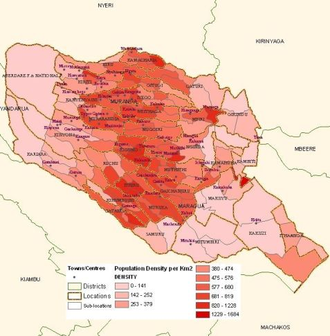 Map - Muranga District Location Administrative Areas and Population Densities